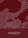 Madison, United States of America Red Map Poster
