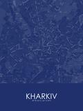 Kharkiv, Ukraine Blue Map Posters