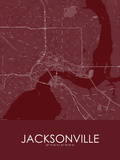 Jacksonville, United States of America Red Map Posters