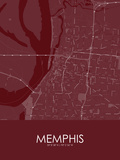 Memphis, United States of America Red Map Prints