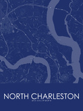North Charleston, United States of America Blue Map Posters