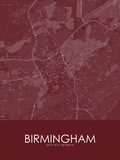 Birmingham, United States of America Red Map Prints