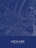 Newark, United States of America Blue Map Posters
