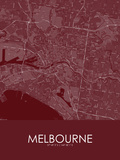Melbourne, Australia Red Map Prints