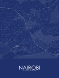Nairobi, Kenya Blue Map Posters