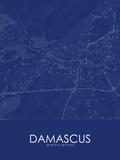 Damascus, Syrian Arab Republic(Syria) Blue Map Prints