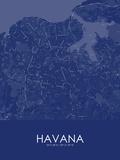 Havana, Cuba Blue Map Poster