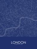 London, United Kingdom Blue Map Prints