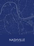 Nashville, United States of America Blue Map Prints