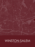 Winston-Salem, United States of America Red Map Prints