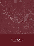El Paso, United States of America Red Map Prints