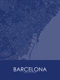 Barcelona, Spain Blue Map Photo