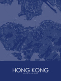 Hong Kong, Hong Kong, Special Administrative Region of China Blue Map Posters