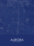 Aurora, United States of America Blue Map Posters