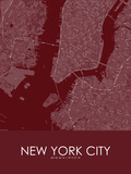 New York City, United States of America Red Map Photo