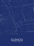 Suzhou, China Blue Map Prints