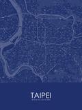 Taipei, Taiwan, Republic of China Blue Map Posters