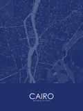 Cairo, Egypt Blue Map Posters