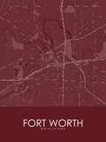 Fort Worth, United States of America Red Map Prints