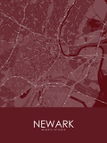 Newark, United States of America Red Map Prints