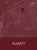 Almaty, Kazakhstan Red Map Print
