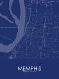 Memphis, United States of America Blue Map Poster