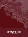 Honolulu, United States of America Red Map Poster