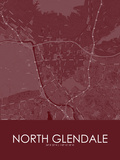 North Glendale, United States of America Red Map Posters