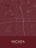 Wichita, United States of America Red Map Posters