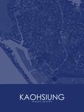 Kaohsiung, Taiwan, Republic of China Blue Map Prints