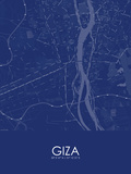 Giza, Egypt Blue Map Prints
