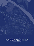 Barranquilla, Colombia Blue Map Photo