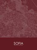 Sofia, Bulgaria Red Map Print