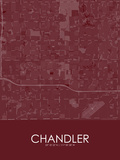 Chandler, United States of America Red Map Prints