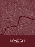 London, United Kingdom Red Map Prints