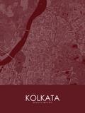 Kolkata, India Red Map Posters
