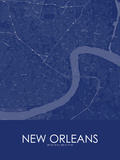 New Orleans, United States of America Blue Map Posters