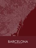Barcelona, Spain Red Map Print