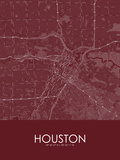 Houston, United States of America Red Map Posters