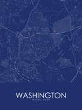 Washington, United Kingdom Blue Map Posters