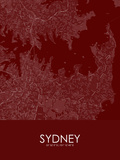 Sydney, Australia Red Map Posters