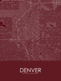 Denver, United States of America Red Map Posters