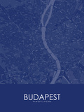 Budapest, Hungary Blue Map Prints