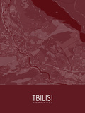 Tbilisi, Georgia Red Map Posters