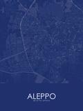 Aleppo, Syrian Arab Republic(Syria) Blue Map Photo