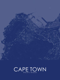 Cape Town, South Africa Blue Map Lámina