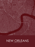 New Orleans, United States of America Red Map Poster