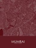 Mumbai, India Red Map Prints