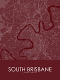 South Brisbane, Australia Red Map Print