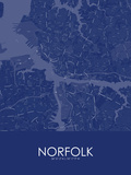 Norfolk, United States of America Blue Map Poster